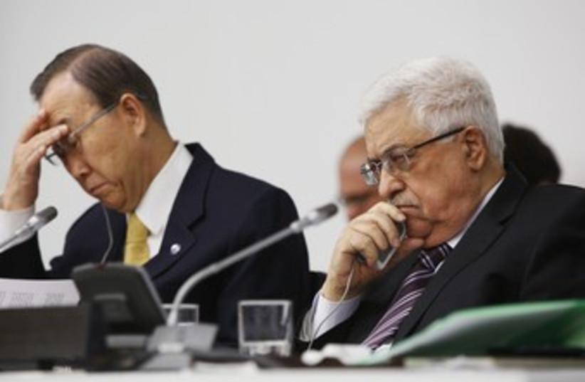 PA President Abbas and Ban Ki-moon at the UN 370 (R) (photo credit: Chip East / Reuters)