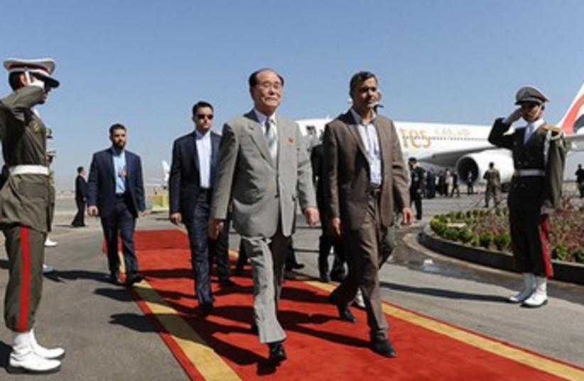 Kim Yong-Nam arrives at NAM in Tehran 370 (photo credit: REUTERS/Handout )
