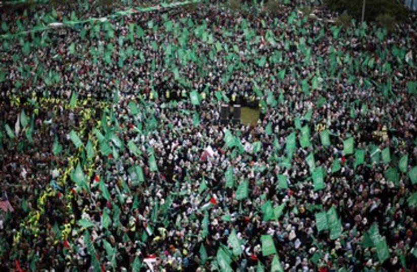 Hamas rally in Gaza Strip huge crowds 390 (photo credit: Suhaib Salem / Reuters)