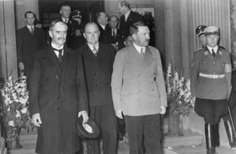 Neville Chamberlain (left), Hitler 370 (photo credit: Wikimedia Commons)