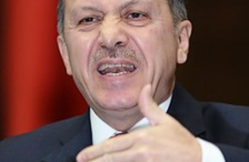 Erdogan makes funny face (photo credit: AP)