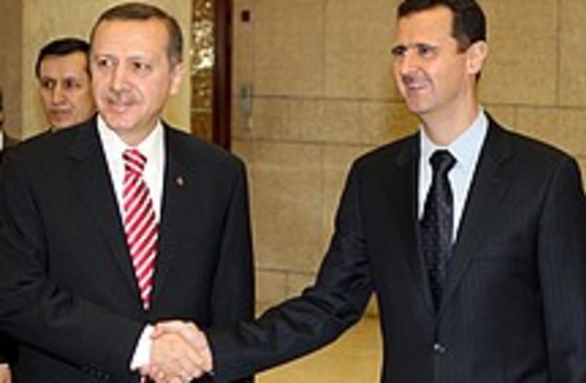Syria's Bashar Assad meets Turkey's Recep Tayyip Erdogan in a file photo from 2008. (photo credit: AP)