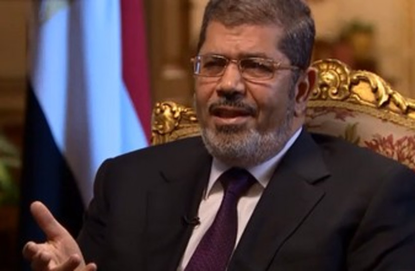 Egyptian President Mohamad Morsi in CNN interview 370 (photo credit: Screenshot)
