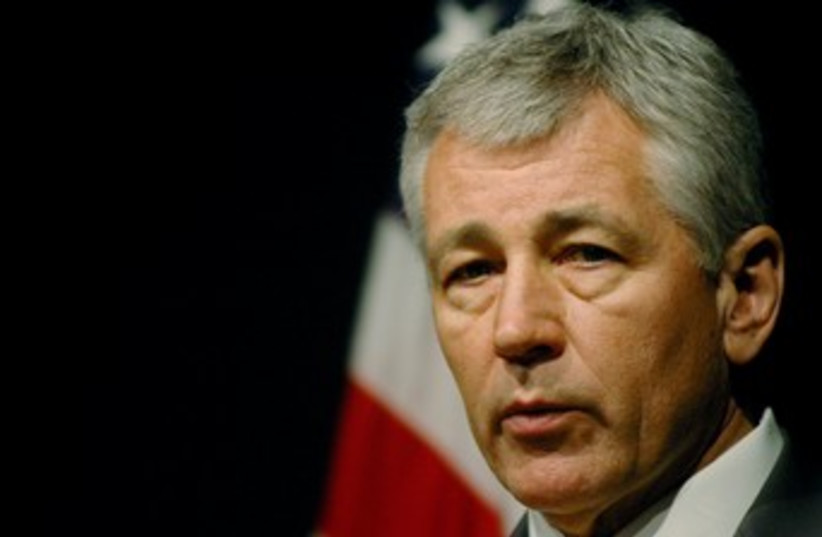 Chuck Hagel speaks in Islamabad 370 (photo credit: REUTERS/Mian Kursheed)