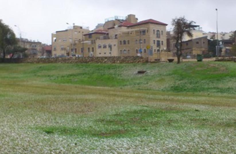 Hail in Sacher Park, Jerusalem, January 9, 2013