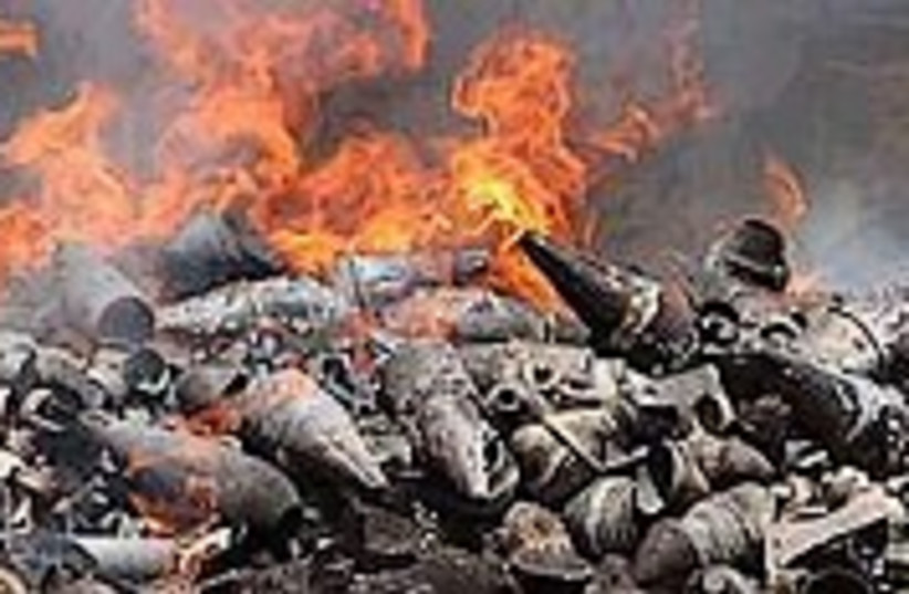 Kassams burn 224.88 (photo credit: AP)