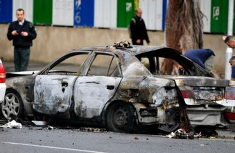 Car explosion in TA 370 (photo credit: Hadas Parush)