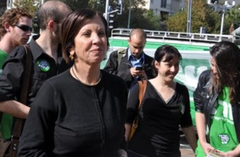 Meretz leader Zehava Gal-On with activists 370 (photo credit: DANIELLE ZIRI)