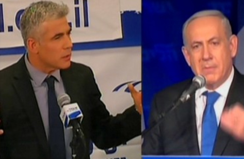 Netanyahu and Lapid post-election broadcast 370 (photo credit: Screen shot)