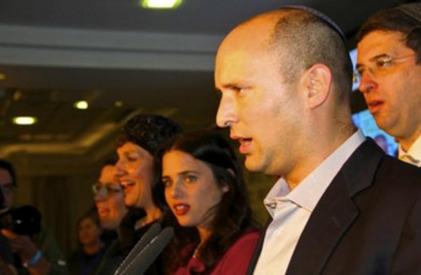 Naftali Bennett makes post-election speech 370 (photo credit: TOVAH LAZAROFF)