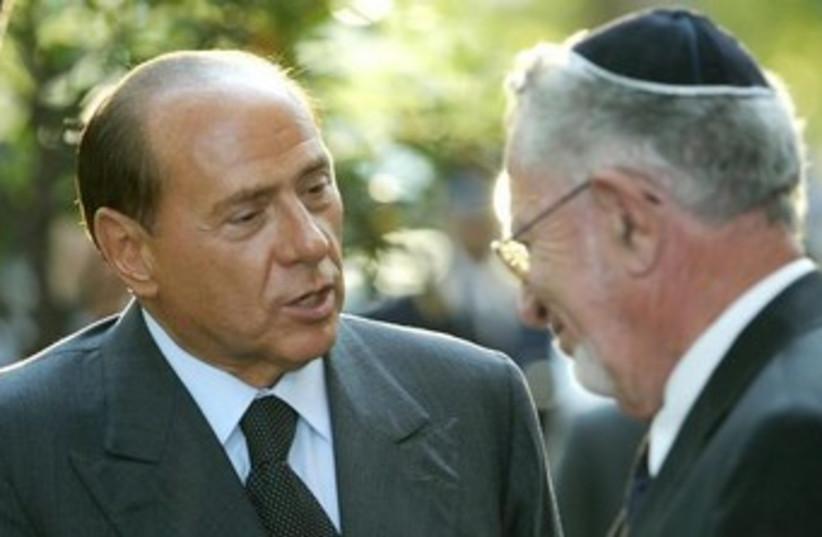 Silvio Berlusconi meets Amos Luzzatto370 (photo credit: REUTERS/Tony Gentile)