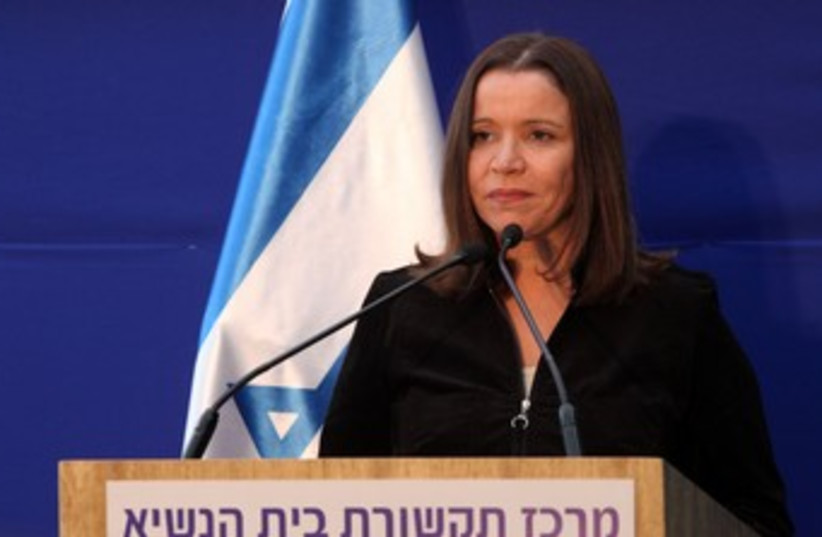 Shelly Yacimovich at the President's residence 370 (photo credit: Marc Israel Sellem/The Jerusalem Post)
