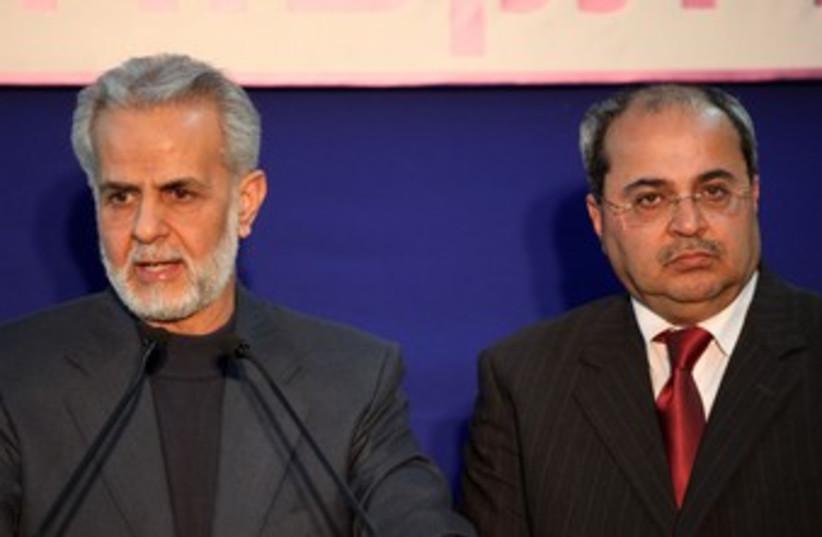 Ibrahim Sarsur and Ahmed Tibi at President's resident 370 (photo credit: Marc Israel Sellem/The Jerusalem Post)