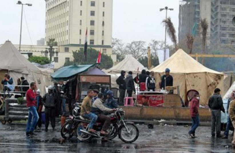 Ratty tents at rainy Tahrir Square in Cairo 370 (photo credit: MELANIE LIDMAN)