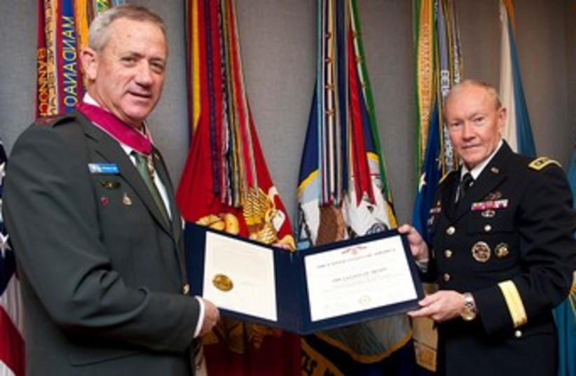 Gantz receiving US Legion of Merit from Dempsey 370 (photo credit: IDF Spokesman)