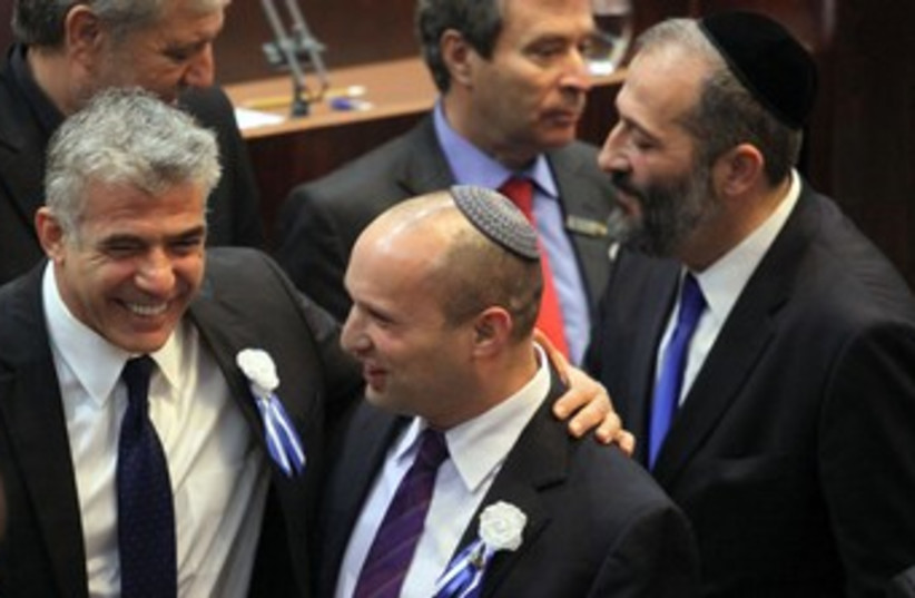 Lapid and Bennett at Knesset swear in 370 (photo credit: Marc Israel Sellem/The Jerusalem Post)