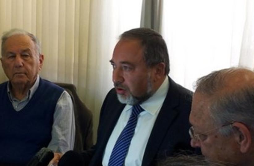 Liberman at Knesset press conference 370 (photo credit: Edi Yosef)