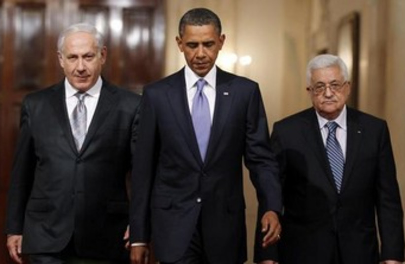 Netanyahu, Obama, Abbas (photo credit: REUTERS/Jason Reed )