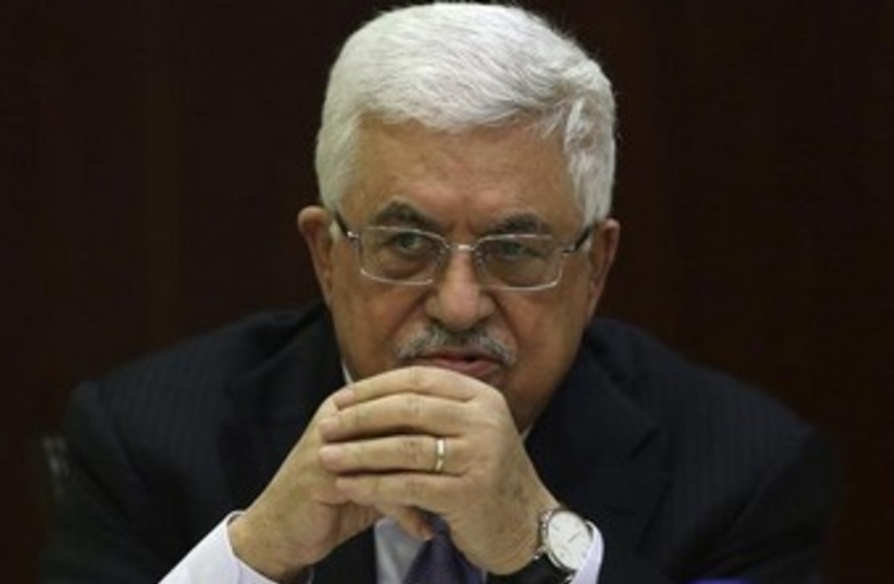 Abbas at PLO meeting in West Bank 370 (photo credit: REUTERS/Mohamad Torokma)