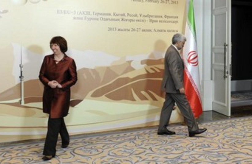 Jalili and Ashton at Iran talks in Kazakhstan 370 (photo credit: REUTERS)
