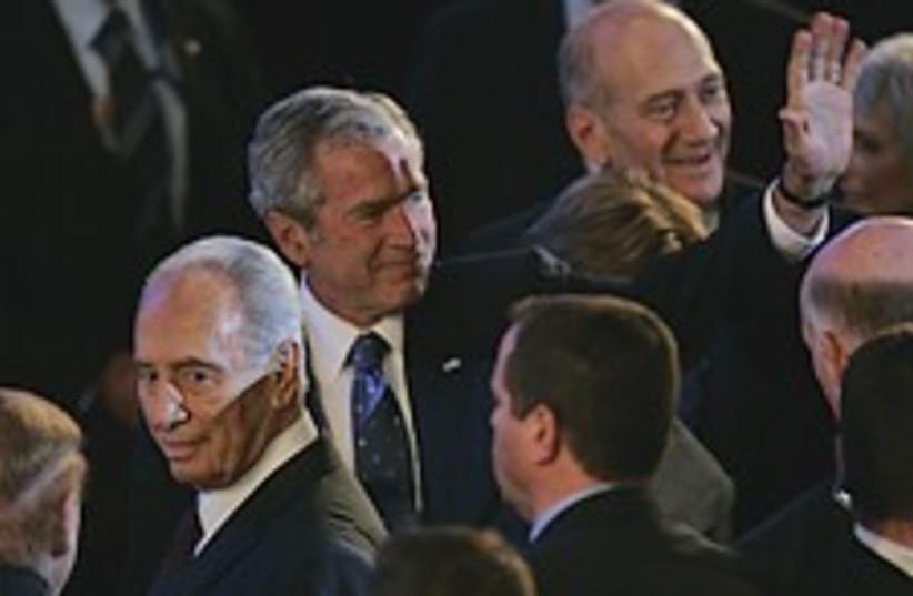 Olmert bush peres 224.88 (photo credit: AP)
