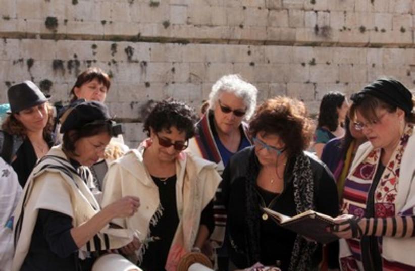 Women Torah scroll 2 Western Wall  395 (photo credit: Marc Israel Sellem)