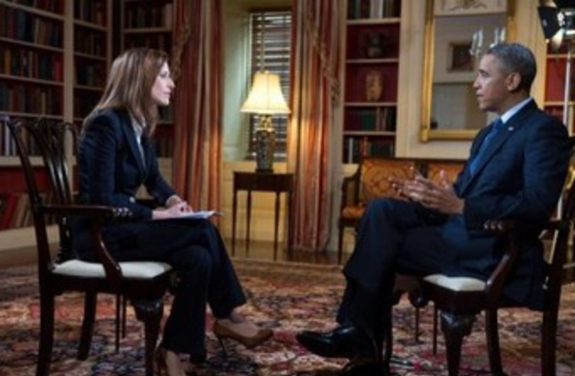 Obama interviewed by Yonit Levy 370 (photo credit: Courtesy US Embassy)