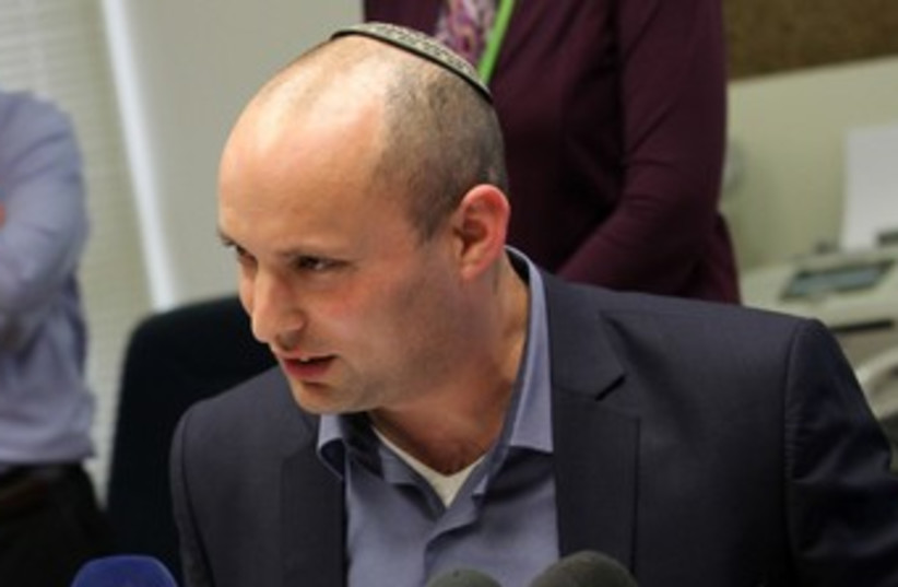 Naftali Bennett at a Bayit Yehudi faction meeting 370 (photo credit: Marc Israel Sellem/The Jerusalem Post)