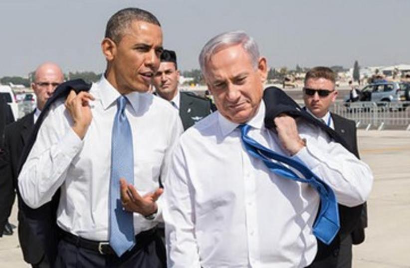 Netanyahu and Obama at airport 390 (photo credit: White House)