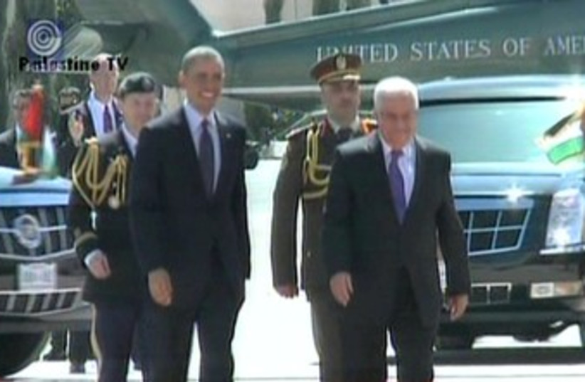 Obama and Abbas (photo credit: Screenshot Channel 1)