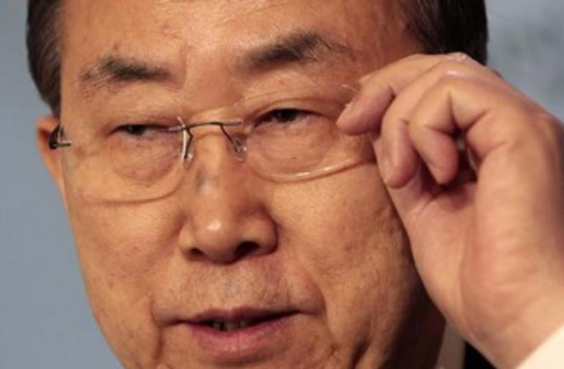 Ban Ki moon *concerned, thinking* 370 (photo credit: REUTERS/Albert Gea)