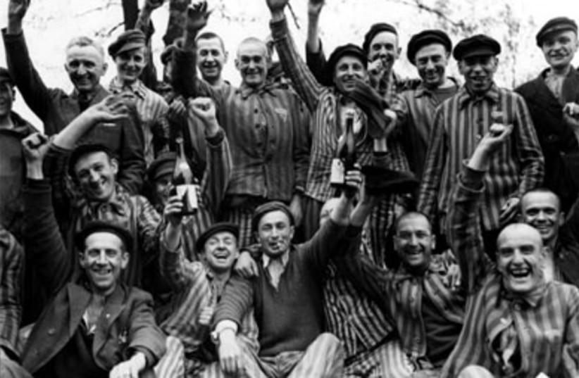 Buchenwald survivor celebrate liberation (photo credit: Margaret Bourke-White)