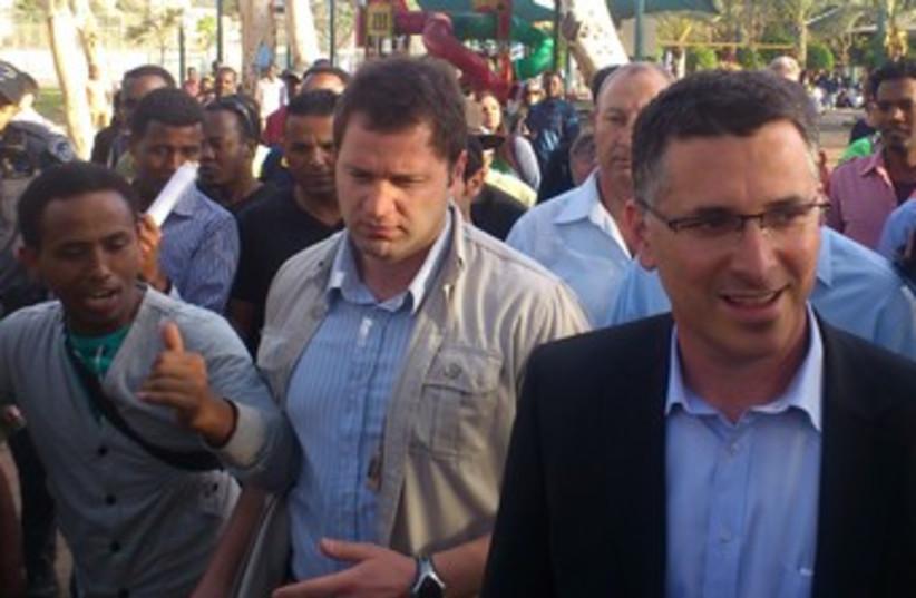 Sa'ar on tour in south Tel Aviv 370 (photo credit: Ben Hartman)