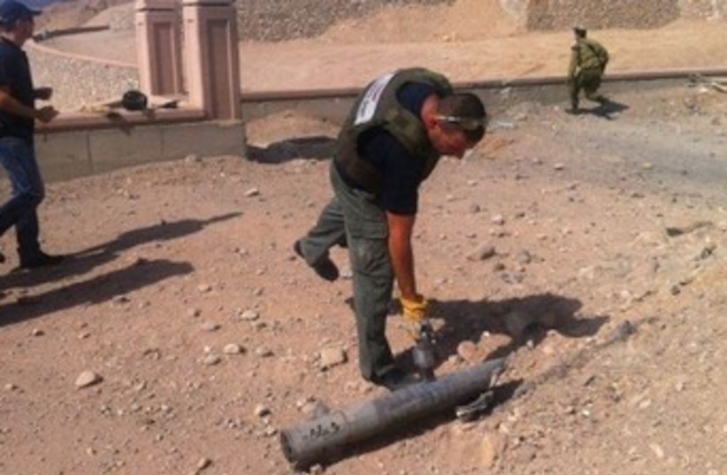 Eilat rocket (photo credit: Spokesperson police southern region)
