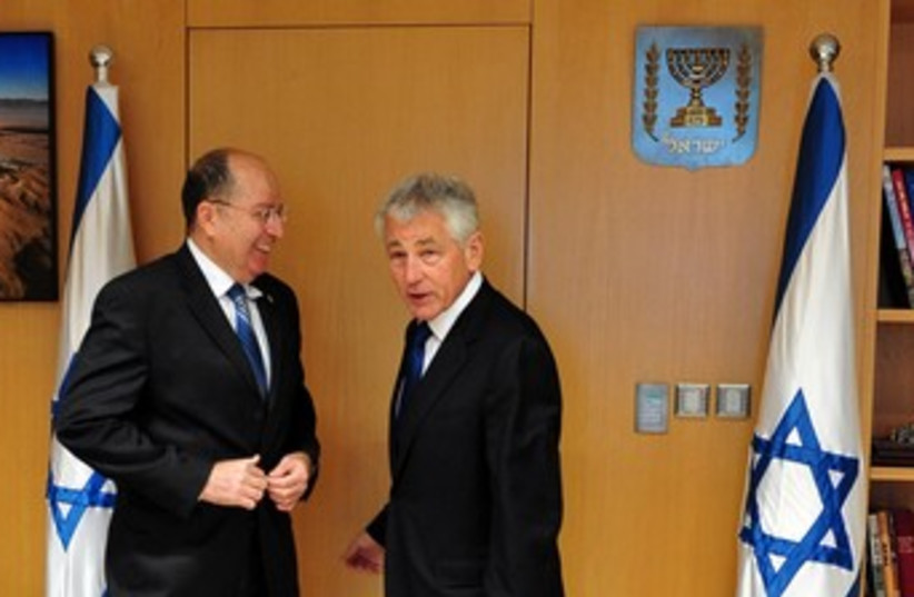 Hagel and Yaalon 370 (photo credit: Courtesy of Ministry of Defense)