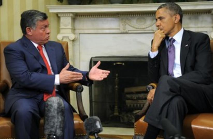 US President Barack Obama and Jordan's King Abdullah 370 (photo credit: REUTERS/Mike Theiler )
