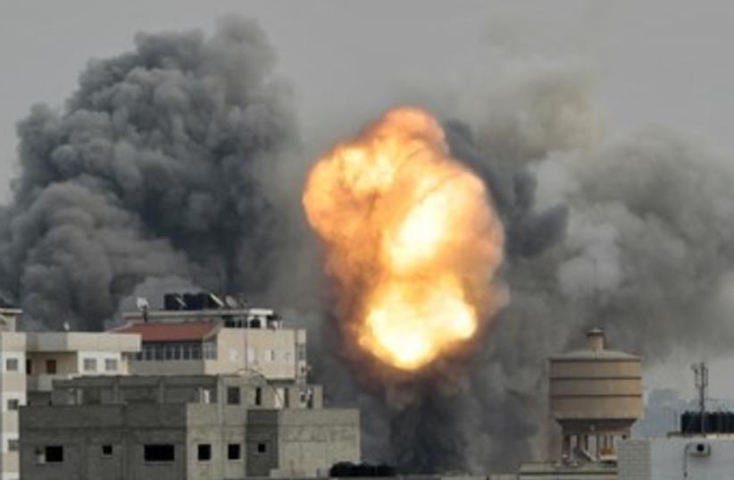 IAF strike in Gaza during Operation Pillar of Defense 370 (photo credit: REUTERS/Ahmed Jadallah)
