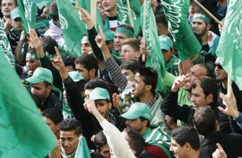 Hamas rally (photo credit: REUTERS/Abed Omar Qusini )