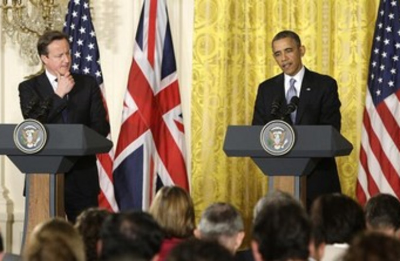 Obama and Cameron 370 (photo credit: REUTERS)