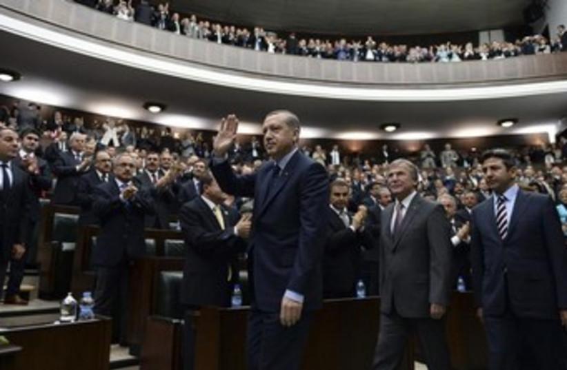 erdogan waves at turkish parliament 370 (photo credit: REUTERS)