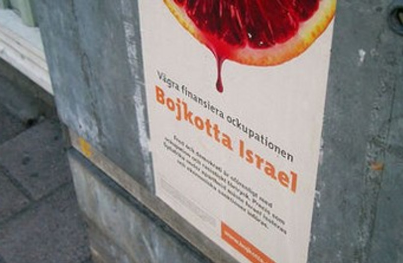 boycott israel sign swdish 370 (photo credit: Wikimedia Commons)