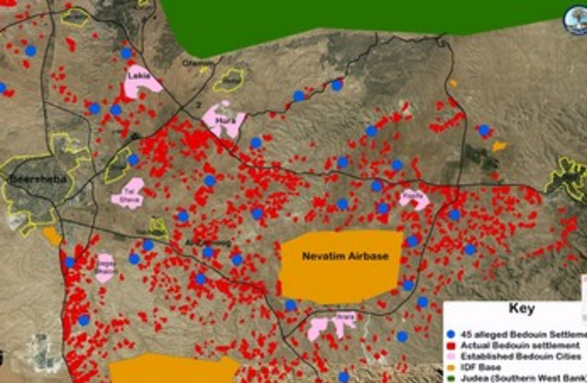 Beduin settlement map Negev370 (photo credit: Courtesy, Regavim )