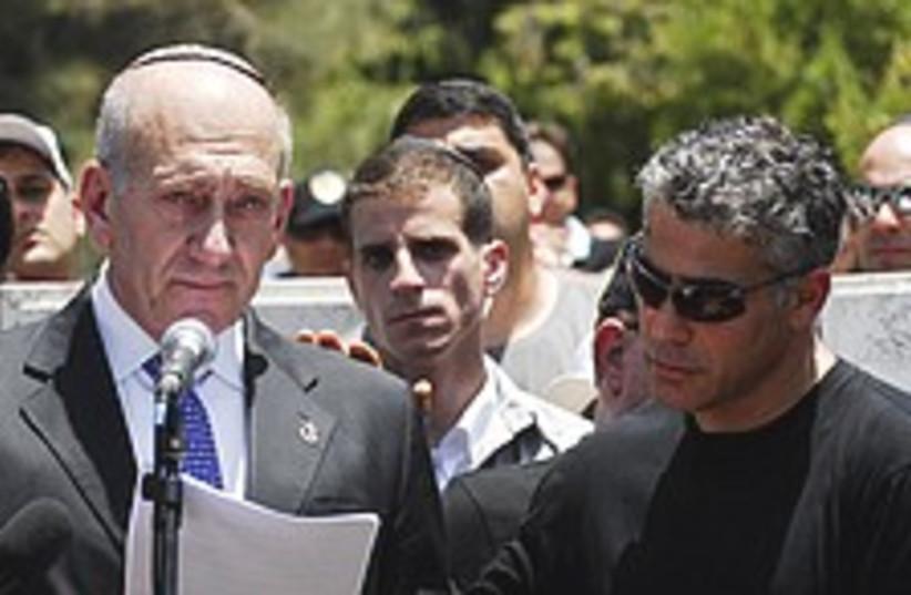 Olmert Lapid eulogy 224 (photo credit: GPO)