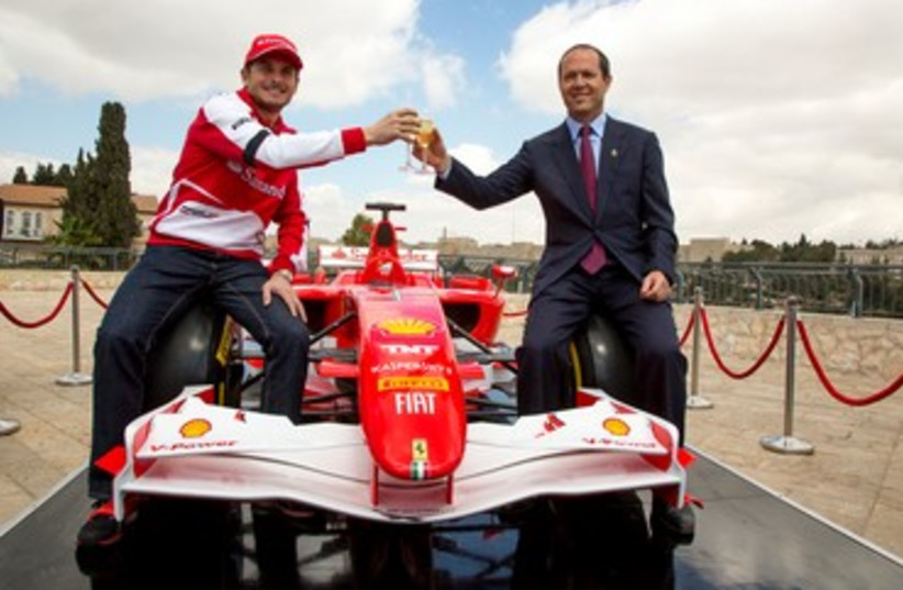 Nir Barkat preparing for Formula 1 race in Jerusalem 370 (photo credit: Courtesy)