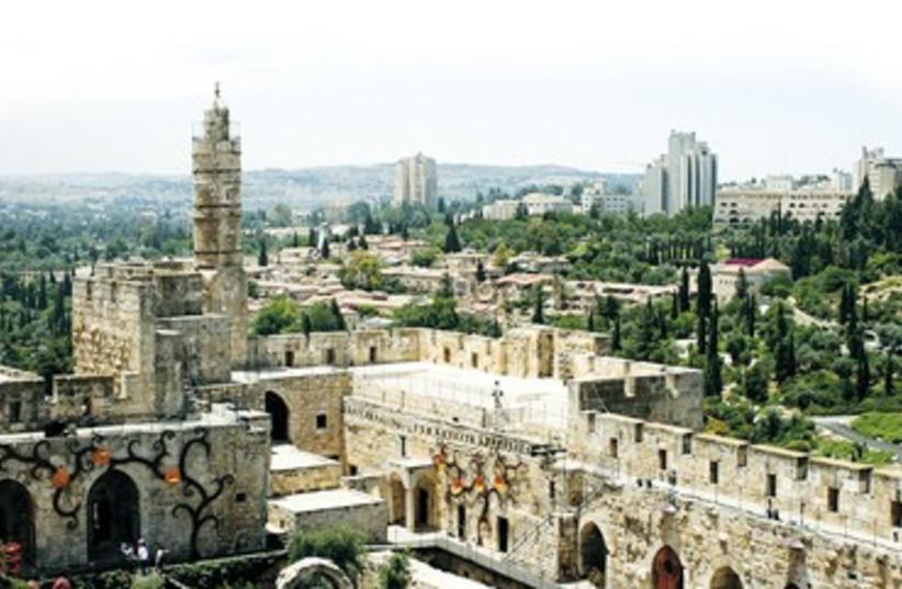 Jerusalem aerial view David Citadel 370 (photo credit: Library of Congress)