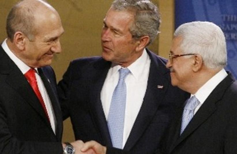 Olmert, Bush, Abbas370 (photo credit: Reuters)