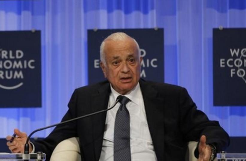 Arab League Secretary General Nabil Elaraby speaks at the World Economic Forum, May 25, 2013.
