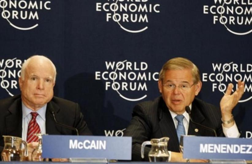 Senators John McCain and Robert Menendez at the World Economic Forum, May 25, 2013.