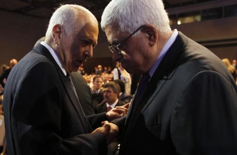 Mahmoud Abbas and Nabil Elaraby at the World Economic Forum, May 25, 2013.