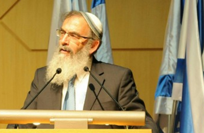 Rabbi David Stav speaking at Knesset 370 (photo credit: Avi Friedman)